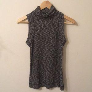 Anthropologie sleeveless turtle neck heather grey